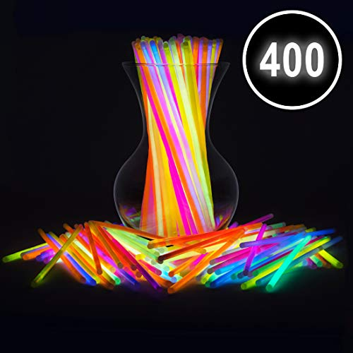 "Glow Sticks Bulk Party Favors 400pk - 8"" Glow in The Dark Party Supplies, Light Sticks Neon Party Glow Necklaces and Bracelets for Kids or Adults"