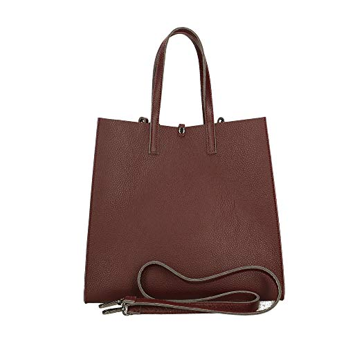 33x31x18 in Chicca Italy Pelle Borsa a Mano Borse Bag cm Bordeaux in Made 8qAvR