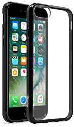 iPhone 7 Case, Bastex Soft Slim Fit Flexible Clear Transparent Rubber Back Cover Fused TPU Black Side Bumper Case for Apple iPhone 7