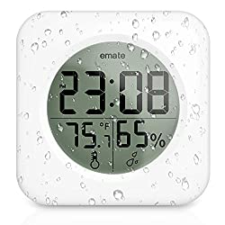 Digital Clock, TOENNESEN Shower Clock with Suction Cups, Temperature and Humidity, Waterproof Clock for Bathroom, Kitchen, Water Spray (Square, White)
