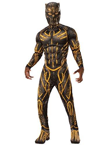 Rubie's Costume Co Deluxe Erik Killmonger Battle Suit Muscle Chest, Black/Gold, -