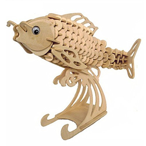STONG 3D Jigsaw Carp/Fish DIY Wooden Jigsaw Puzzle Handmade Toy or Hobby Decorative Animal Model Gift