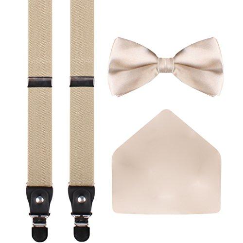 WDSKY men's bowtie khaki colored suspenders suspenders bow tie set Khaki (Glisten Finishing Spray)