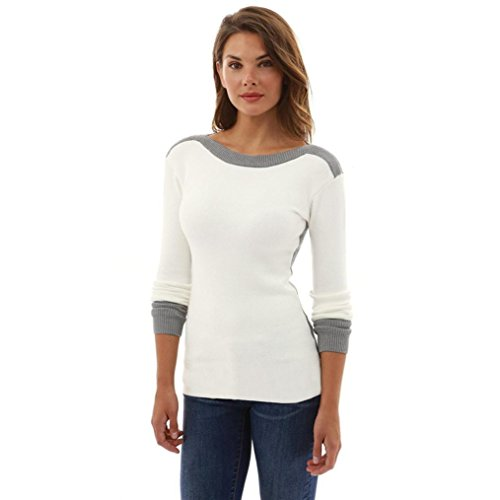 Anshinto Womens O Neck Fight Color Long Sleeve Jumper Sweaters Blouse Tops (White, S)