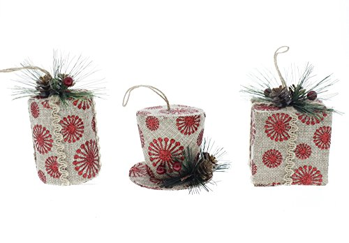 Mini Top Hat With Mistletoe (Holiday Ornaments Elegant Country Style Top Hat, Cylinder, & Square Box Ornaments, Red, Tan, & Green, Small, 3 Piece Set, 2