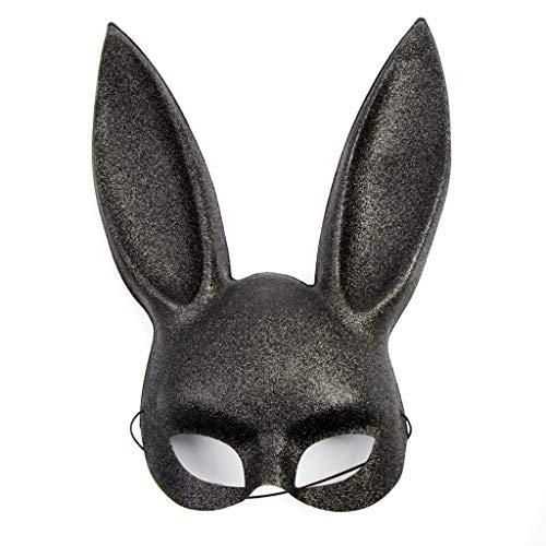 Glitter Bunny Mask in Black, Pink White