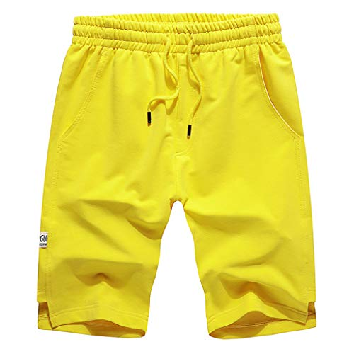 en's Leisure Pure Color Stretch Belt Belted Rope Sports Home Pants Yellow ()