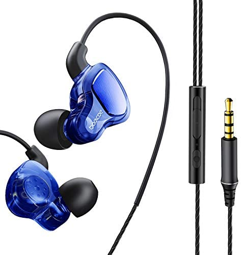 Wired Earbuds with Microphone and Volume Control – Quad-core Double Moving Coil Heavy Deep Bass in Ear Wired Headphones Ear Buds – Compatible with Apple iPhone Ipad Samsung Galaxy Sony 3.5mm Blue
