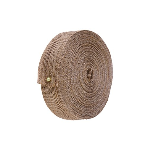 Hemp Webbing - Amosfun Natural Jute Hemp Rope Weaving Webbing Home DIY Craft Fishing Line Pattern Burlap Ribbon (Light Brown) - 10mx2.5cm