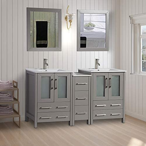 Vanity Art 60 inch Double Sink Bathroom Vanity Combo Set 1 Side Cabinets 2 Shelves Ceramic Top Bathroom Cabinet with Two Free Mirror Gray – VA3024-60-G