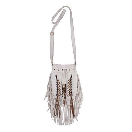 SIXHOOD Native American Beaded Fringe Leather Bag with Ad...
