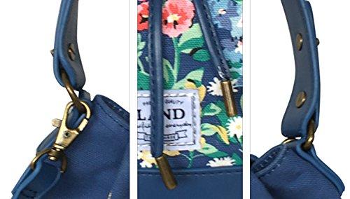Bucket sección elegante idílica impresión oblicua cruz mop bolsa ( Color : Oat color ) Azul