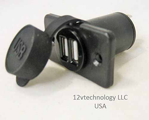 Dual USB Charger and Socket Panel Mount Marine 12 Volt Boat Power Outlet For Car