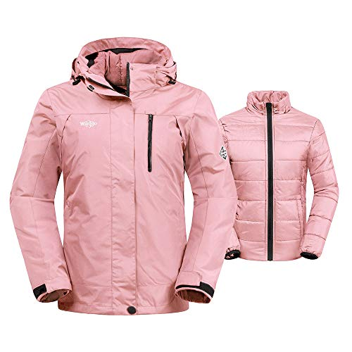 Wantdo Women's 3-in-1 Skiing Jacket Insulated Detachable Puffer Liner Pink S