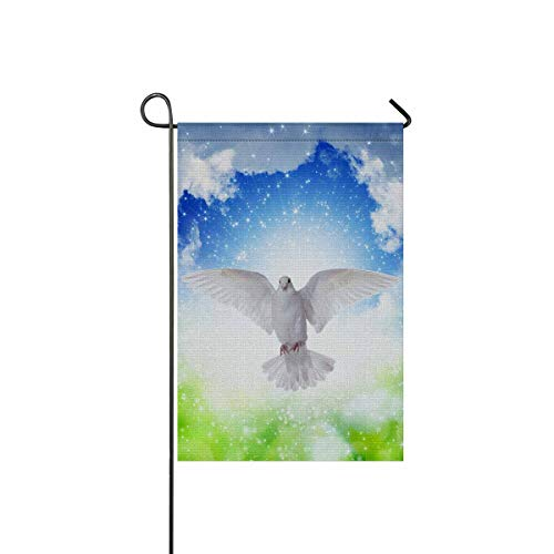 INTERESTPRINT Holy Spirit Dove Flies in Blue Sky Bright Light Shines from Heaven Garden Flag House Banner, Decorative Yard Flag for Wishing Party Home Outdoor Decor, 12