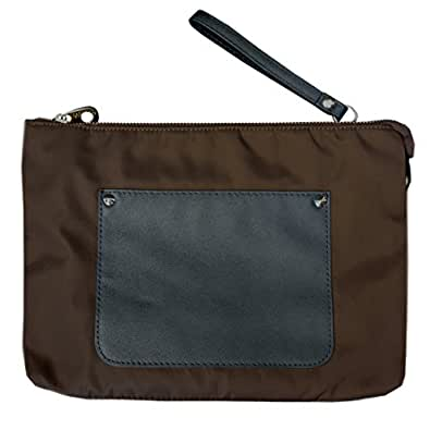 Fashion wristlet clutch crossbody bag fits cellphone/ipad pro with shoulder and wrist strap for women/men Brown Size: Medium