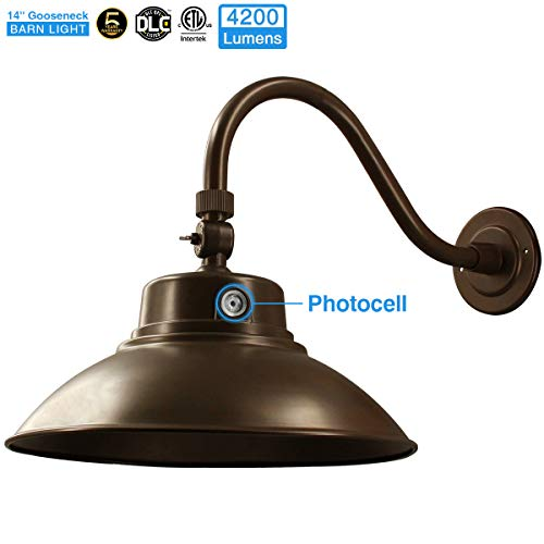 14in. Brown LED Gooseneck Barn Light 42W 4200lm Warmlight LED Fixture for Indoor/Outdoor Use - Photocell Included - Swivel Head,Energy Star Rated - ETL Listed - Sign Lighting - 3000K Warmlight 1pk