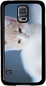 A-White-Cute-Kitten Cases for Samsung Galaxy S5 I9600 with Black sides by lolosakes
