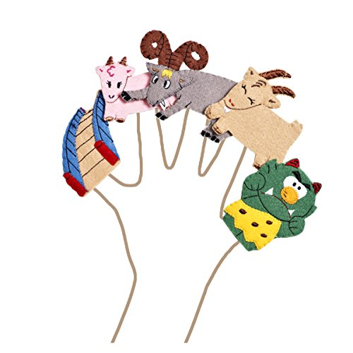 Three Billy Goats Gruff Felt Finger Puppet Set (5 Finger Puppets)