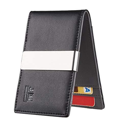 JM Minimalist Slim Leather Wallet Money Clip Credit Card Holder for Men RFID Blocking (napa black and grey)