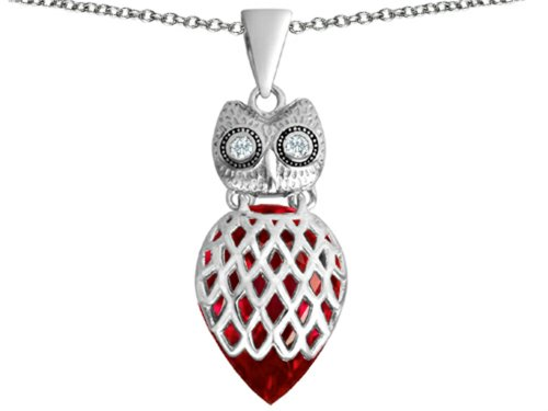 Star K Good Luck Owl Pendant Necklace with Pear Shape Created Ruby Sterling Silver