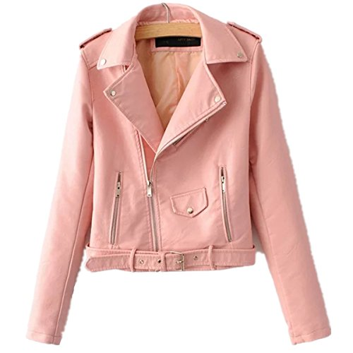 Yougao Women's Punk Long Sleeve PU Leather Coat Zip up Short Motocycle Jacket Pink L