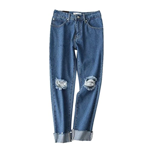 WanYang Pantalones Vaqueros Para Rectos Azul Pantalones Casuales Agujeros Mujer Vaqueros gYBrZqgw