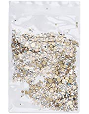 Solustre 1440pcs Nail Art Rhinestones Assorted Flatback Gems Stones AB Nail Crystals for DIY Craft Nails Art Makeup Clothes Shoes (Champagne)