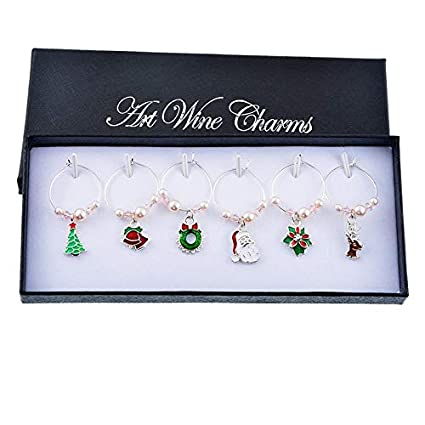 Lindsie Box 6pcs Pink Pearl Wine Charm Table Decoration For Dinner