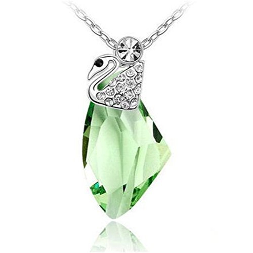 [Next-Mon 2016 New Austrian Crystal Swan Crystal Pendant women Jewelry Necklace(Green)] (Fantasy Life Angel Costume)