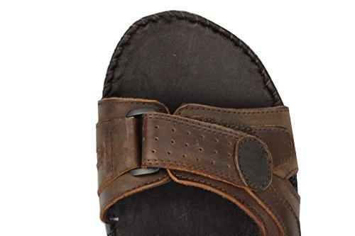 Pour Homme En Cuir Véritable Marron Sangle Velcro Marche Sport Plage Sandales Mules Chaussures Taille UK