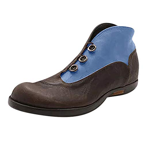 Opinionated Women's Fashion Casual Outdoor Low Wedge Heel Booties Shoes Lace up Close Toe Ankle Boots Blue
