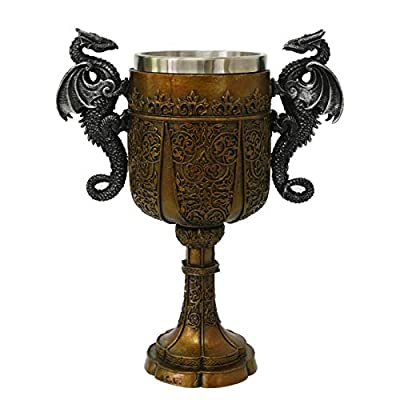Double Dragon Drinking Chalice Goblet 9 inches Tall