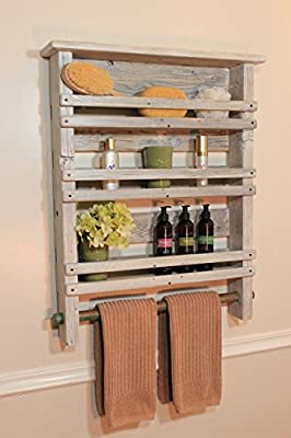 Rundown Rustics 3 Shelf Bathroom Organizer Display Storage Cubby Rack Décor Rustic Reclaimed Recycled Upcycled Distressed Pallet Barn Wood Industrial Metal Towel Bar Wall Mount