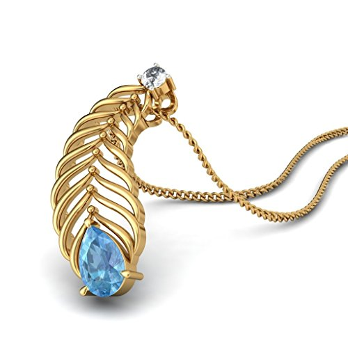 14K jaune Or 0,04CT TW Round-cut-diamond (IJ | SI) et topaze bleue Pendentif