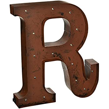the gerson company r led lighted metal letter with rustic brown finish and timer function