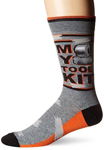 Embroidered Pima Cotton Socks - K. Bell Men's Play On Words Novelty Crew Socks, Gray (Tool Kit), Shoe Size: 6-12