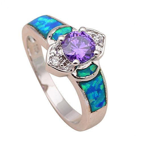 BMALL Luxury Purple Zirconia Amethyst Crystal Blue Fire Opal Silver 925 Fashion Rings For Women Or511A