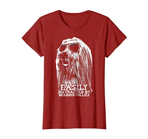 Womens Distracted By Bearded Collies Funny Dog Loving T-Shirt XL Cranberry