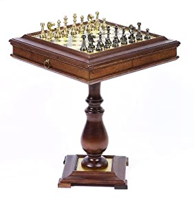 Bello Stefano Chessmen & Venezia Chess Table From Italy