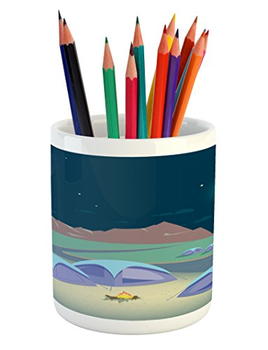 Cheap  Lunarable Camping Pencil Pen Holder, Leisure Activity Themed Design with Tranquil Mountains..