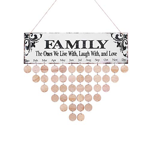 WINOMO Family Birthday Board Plaque DIY Hanging Wooden Birthday Reminder Calendar with 50pcs Round Discs