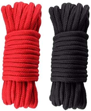 Black Red 2 Pack Soft Cotton Rope-32 feet 10m Multi-Function Natural Durable Long Rope