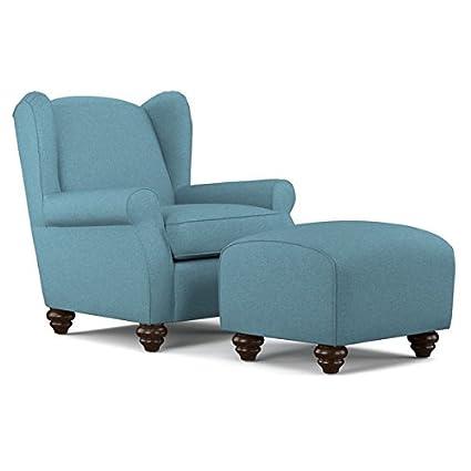Portfolio Hana Caribbean Blue Linen Wingback Chair And Ottoman Set