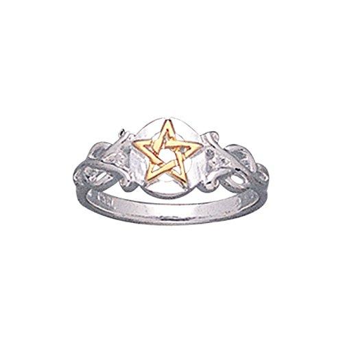 (Sterling Silver Pentacle Golden Pentagram Band Ring Size 11(Sizes 3,4,5,6,7,8,9,10,11,12,13,14,15))