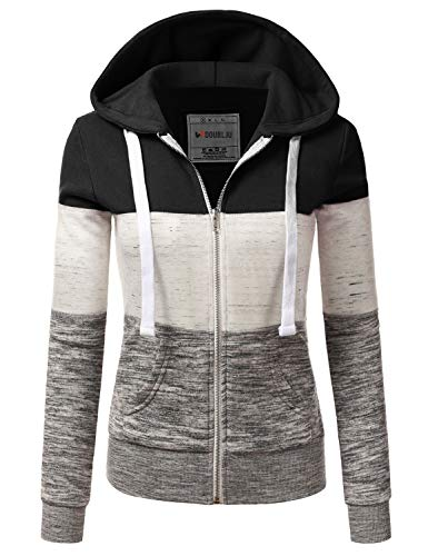 Doublju Lightweight Thin Zip-Up Hoodie Jacket for Women with Plus Size Black X-Large