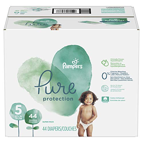 Diapers Size 5, 44 Count - Pampers Pure Disposable Baby Diapers, Hypoallergenic and Fragrance Free Protection, SUPER