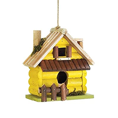 Songbird Valley Hanging Bird House, Yellow Log Home Wooden Outdoor Rustic Decorative Bird House