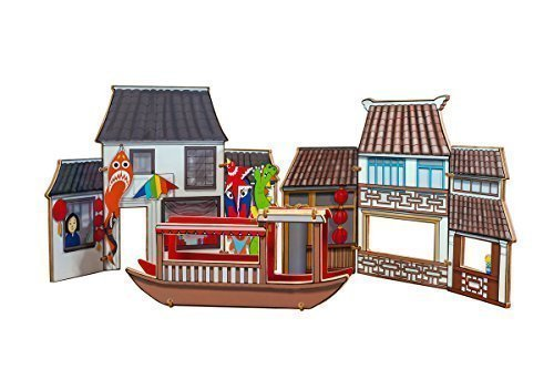 World Village Playset - China Deluxe Companion Pack (Shop, Boat & (Chinese Boat)