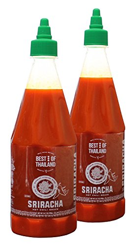 - Sriracha Hot Chili Sauce (2 Pack) Real Asian Brewed – No MSG – Kosher Certified – Spicy Dressing for Pizza, Grilled Food, Fish, Meat – Convenient Bottle Size – 24.7-ounce - By Best of Thailand